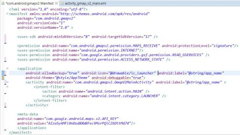 Complete code of AndroidManifest.xml